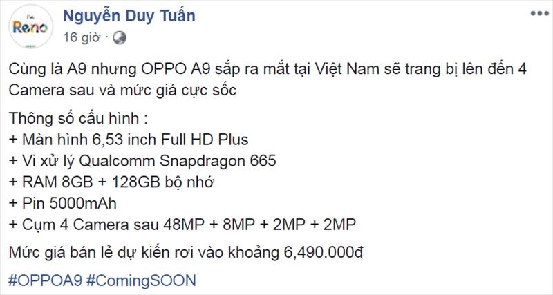 OPPO A9 có bao nhiêu camera
