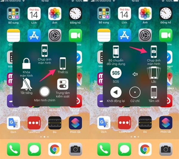 Cắt màn hình iPhone bằng phím ảo