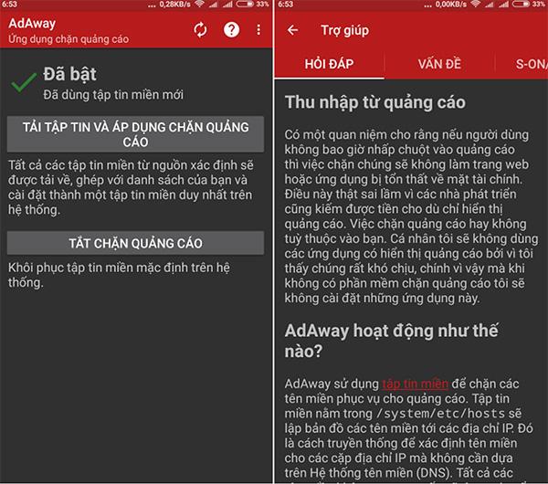 Phần mềm Adaway được cung cấp trên Google Play
