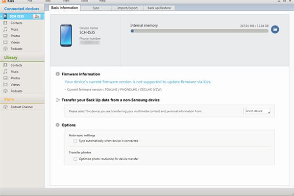 Cách chuyển dữ liệu từ Samsung sang máy tính bằng Samsung Kies