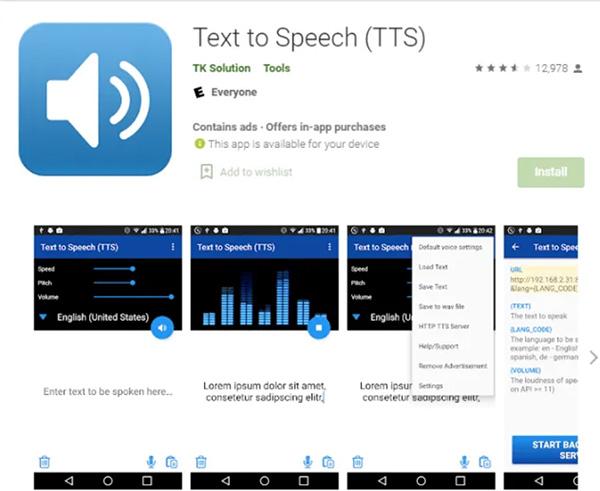 Phần mềm chuyển văn bản thành giọng nói trên điện thoại TK Solution Text to Speech