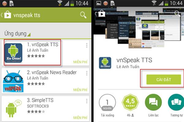 Phần mềm chuyển văn bản thành giọng nói trên điện thoại VnSpeak