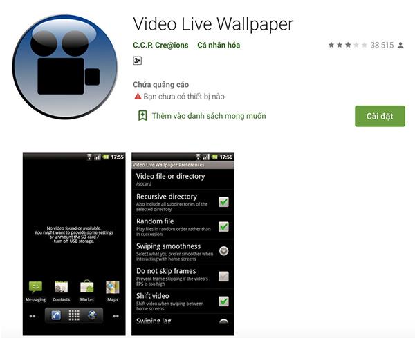 Ứng dụng cài video làm màn hình khóa Video Live Wallpaper